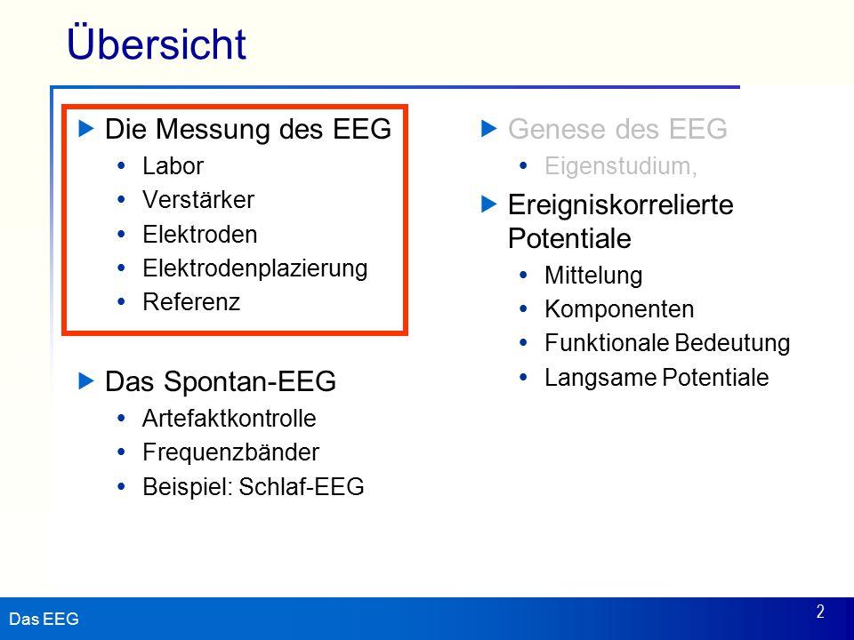 Das EEG 2 Übersicht  Die Messung des EEG  Labor  Verstärker  Elektroden  Elektrodenplazierung  Referenz  Das Spontan-EEG  Artefaktkontrolle  Frequenzbänder  Beispiel: Schlaf-EEG  Genese des EEG  Eigenstudium,  Ereigniskorrelierte Potentiale  Mittelung  Komponenten  Funktionale Bedeutung  Langsame Potentiale