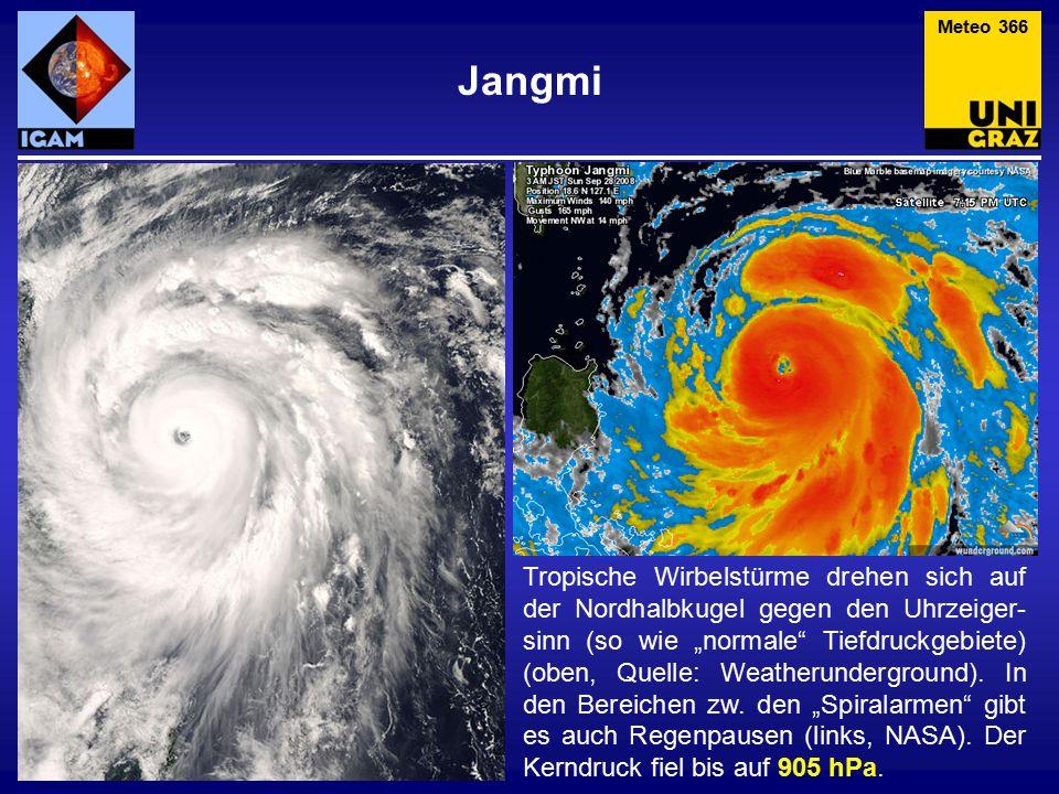 """Jangmi Tropische Wirbelstürme drehen sich auf der Nordhalbkugel gegen den Uhrzeiger- sinn (so wie """"normale Tiefdruckgebiete) (oben, Quelle: Weatherunderground)."""