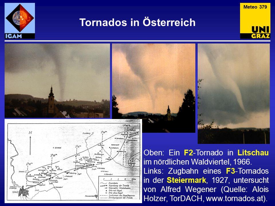 Oben: Ein F2-Tornado in Litschau im nördlichen Waldviertel, 1966.