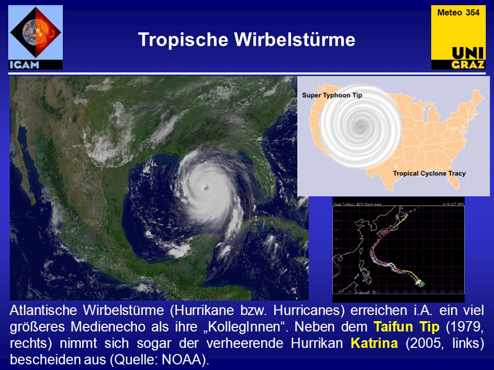 Ein unerwarteter Hurrikan Im März 2004 wurde der erste Hurrikan (Catarina) im Südatlantik beobachtet (o., Quelle: NASA).