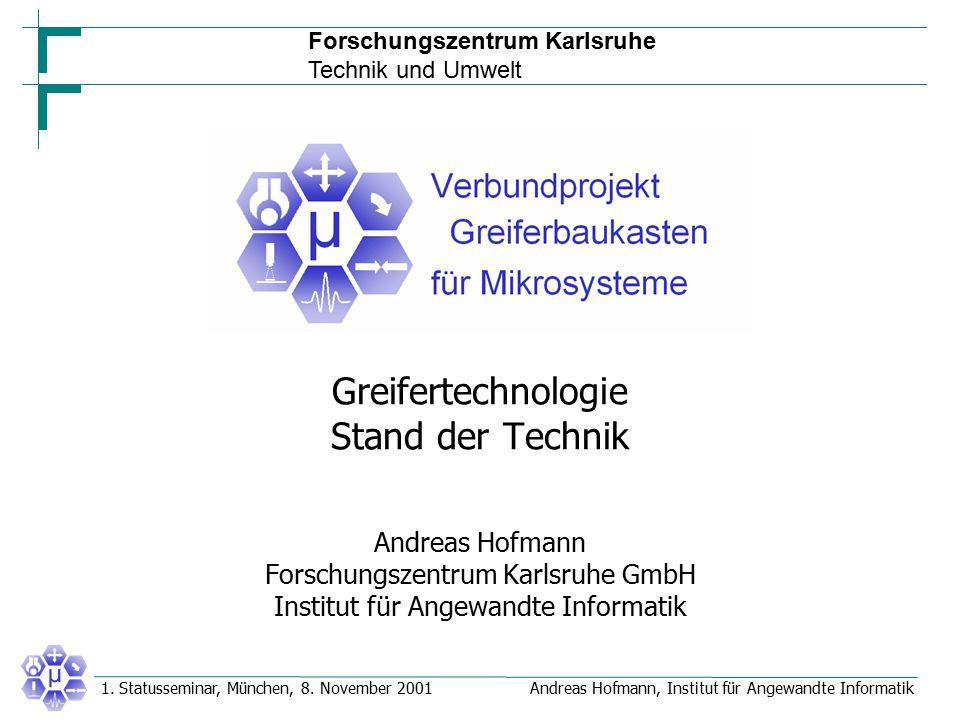 Forschungszentrum Karlsruhe Technik und Umwelt Andreas Hofmann, Institut für Angewandte Informatik1. Statusseminar, München, 8. November 2001 Greifert