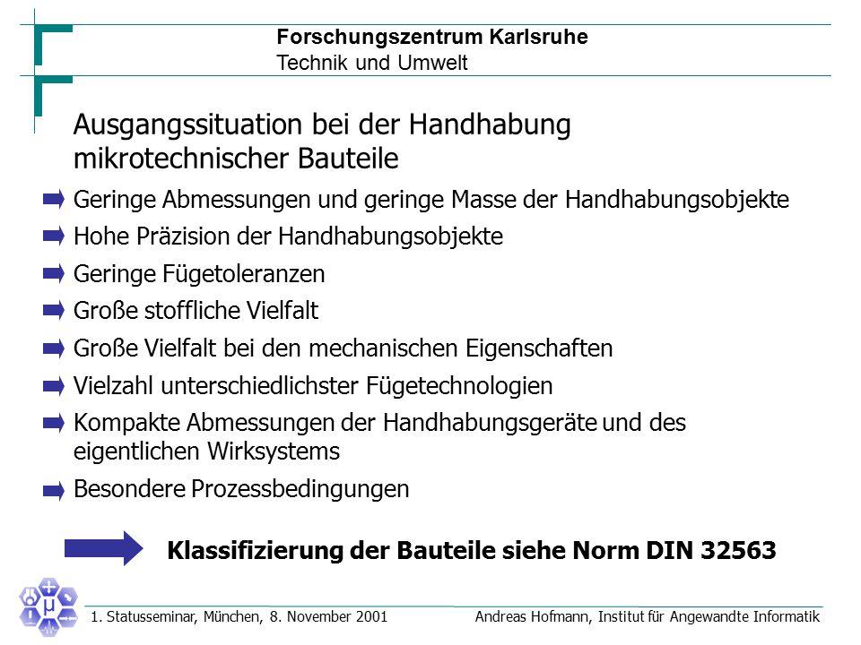 Forschungszentrum Karlsruhe Technik und Umwelt Andreas Hofmann, Institut für Angewandte Informatik1. Statusseminar, München, 8. November 2001 Ausgangs