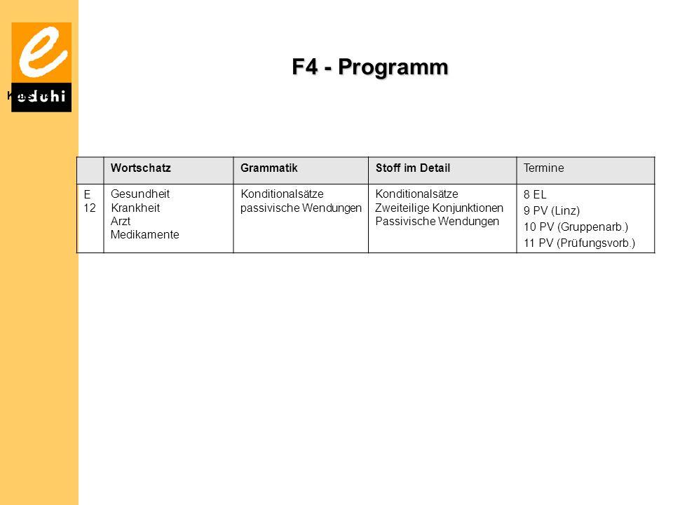 F4 - Programm Kurs F 4 WortschatzGrammatikStoff im DetailTermine E 12 Gesundheit Krankheit Arzt Medikamente Konditionalsätze passivische Wendungen Konditionalsätze Zweiteilige Konjunktionen Passivische Wendungen 8 EL 9 PV (Linz) 10 PV (Gruppenarb.) 11 PV (Prüfungsvorb.)