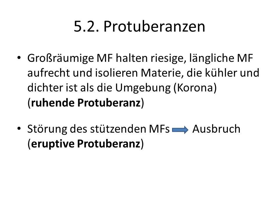 5.2. Protuberanzen Großräumige MF halten riesige, längliche MF aufrecht und isolieren Materie, die kühler und dichter ist als die Umgebung (Korona) (r