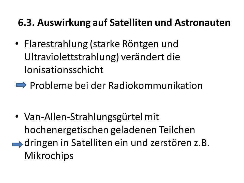 6.3. Auswirkung auf Satelliten und Astronauten Flarestrahlung (starke Röntgen und Ultraviolettstrahlung) verändert die Ionisationsschicht Probleme bei