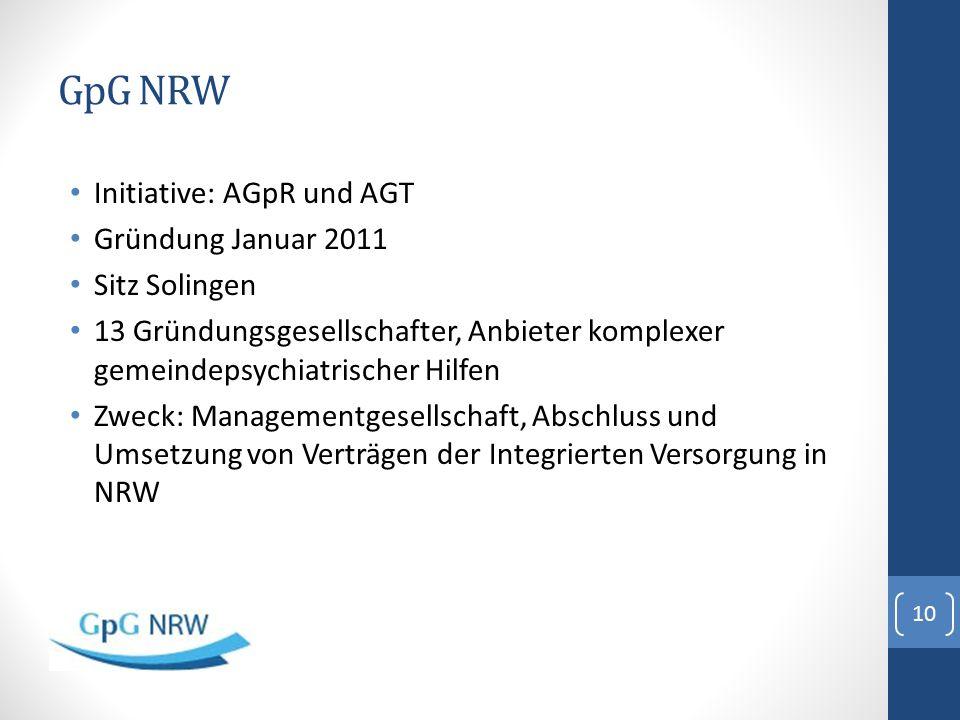 GpG NRW Initiative: AGpR und AGT Gründung Januar 2011 Sitz Solingen 13 Gründungsgesellschafter, Anbieter komplexer gemeindepsychiatrischer Hilfen Zwec