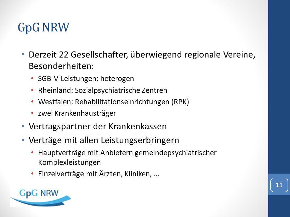 GpG NRW Derzeit 22 Gesellschafter, überwiegend regionale Vereine, Besonderheiten: SGB-V-Leistungen: heterogen Rheinland: Sozialpsychiatrische Zentren