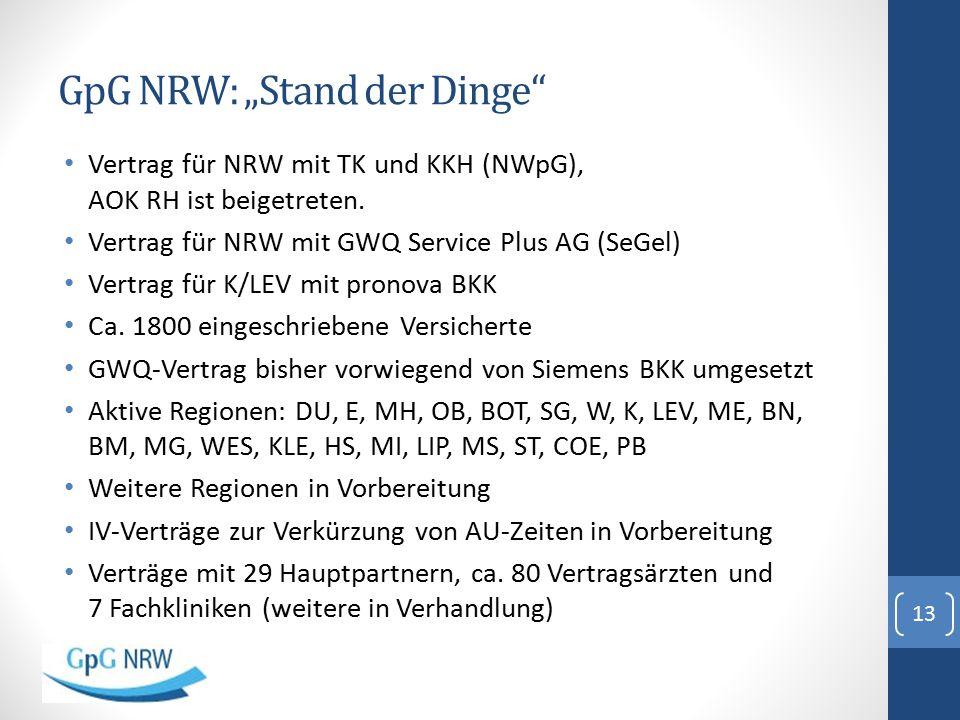 """GpG NRW: """"Stand der Dinge"""" Vertrag für NRW mit TK und KKH (NWpG), AOK RH ist beigetreten. Vertrag für NRW mit GWQ Service Plus AG (SeGel) Vertrag für"""