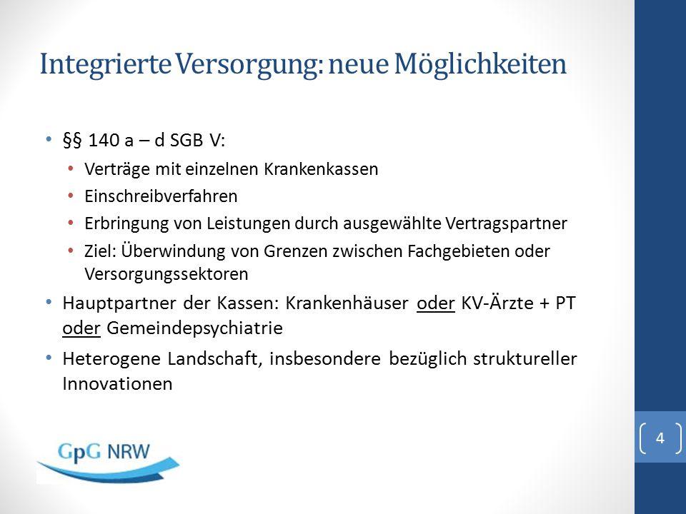 Integrierte Versorgung: neue Möglichkeiten §§ 140 a – d SGB V: Verträge mit einzelnen Krankenkassen Einschreibverfahren Erbringung von Leistungen durc