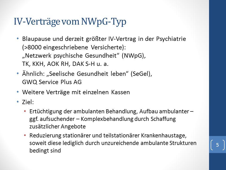 """IV-Verträge vom NWpG-Typ Blaupause und derzeit größter IV-Vertrag in der Psychiatrie (>8000 eingeschriebene Versicherte): """"Netzwerk psychische Gesundh"""