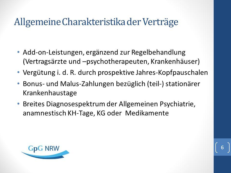 Allgemeine Charakteristika der Verträge Add-on-Leistungen, ergänzend zur Regelbehandlung (Vertragsärzte und –psychotherapeuten, Krankenhäuser) Vergütu