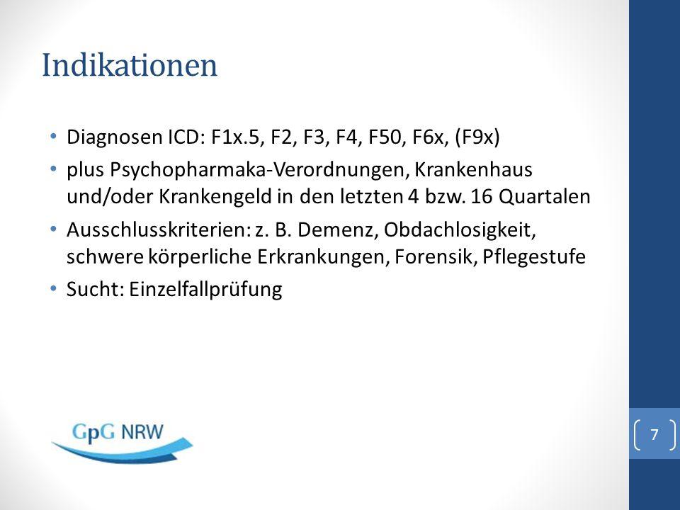 Indikationen Diagnosen ICD: F1x.5, F2, F3, F4, F50, F6x, (F9x) plus Psychopharmaka-Verordnungen, Krankenhaus und/oder Krankengeld in den letzten 4 bzw