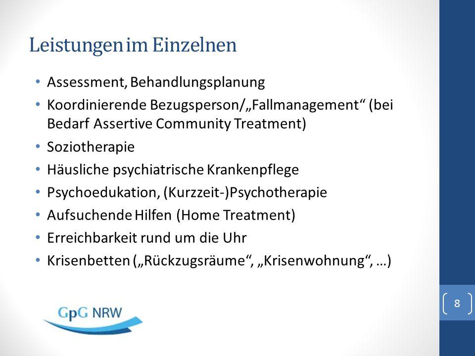 """Leistungen im Einzelnen Assessment, Behandlungsplanung Koordinierende Bezugsperson/""""Fallmanagement"""" (bei Bedarf Assertive Community Treatment) Sozioth"""