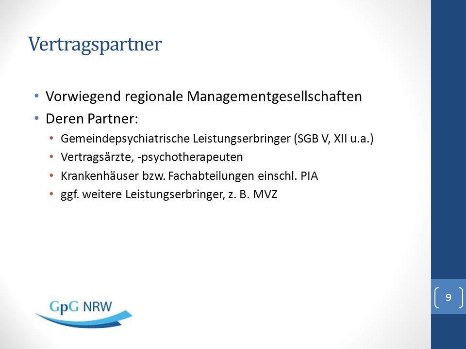 Vertragspartner Vorwiegend regionale Managementgesellschaften Deren Partner: Gemeindepsychiatrische Leistungserbringer (SGB V, XII u.a.) Vertragsärzte