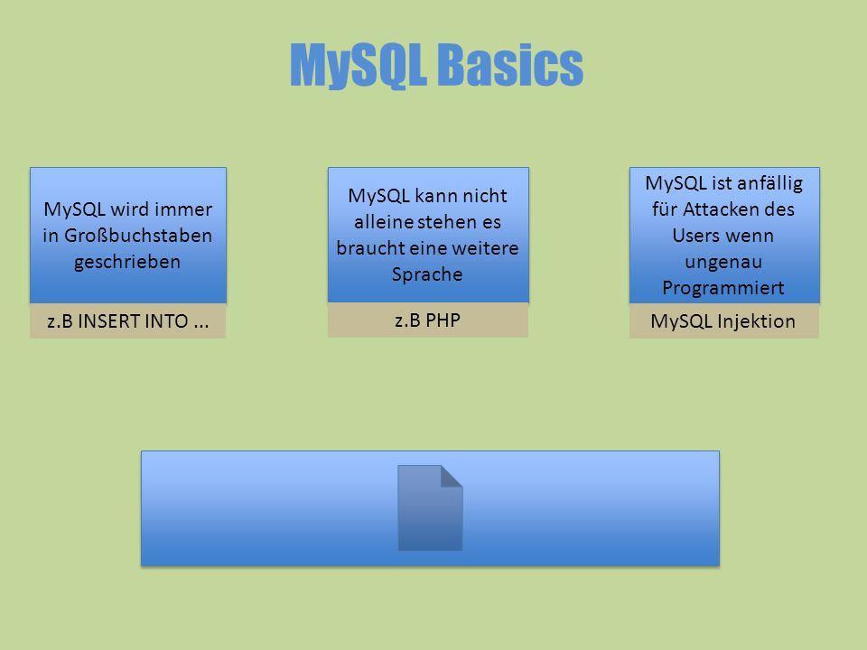 MySQL Basics MySQL wird immer in Großbuchstaben geschrieben MySQL kann nicht alleine stehen es braucht eine weitere Sprache MySQL ist anfällig für Att