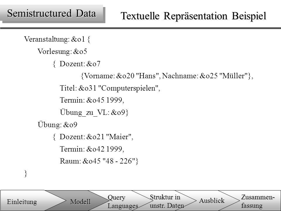 Textuelle Repräsentation Beispiel Veranstaltung: &o1 { Vorlesung: &o5 { Dozent: &o7 {Vorname: &o20 Hans , Nachname: &o25 Müller }, Titel: &o31 Computerspielen , Termin: &o45 1999, Übung_zu_VL: &o9} Übung: &o9 { Dozent: &o21 Maier , Termin: &o42 1999, Raum: &o45 48 - 226 } } Semistructured Data Einleitung Zusammen-fassung Ausblick QueryLanguages Modell Struktur in unstr.