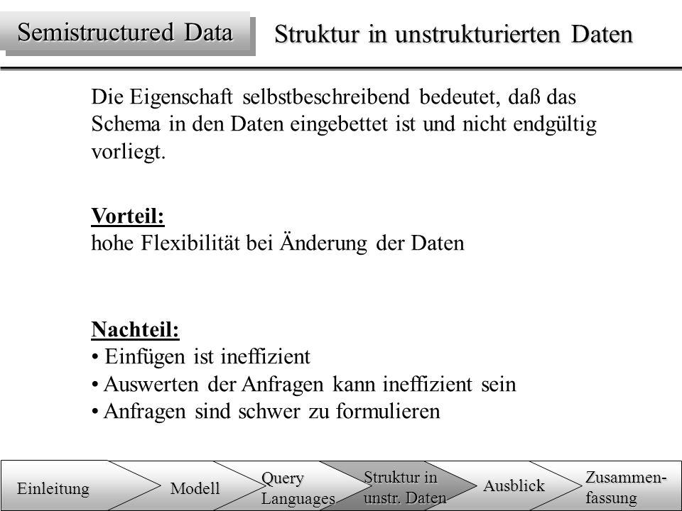 Struktur in unstrukturierten Daten Die Eigenschaft selbstbeschreibend bedeutet, daß das Schema in den Daten eingebettet ist und nicht endgültig vorliegt.
