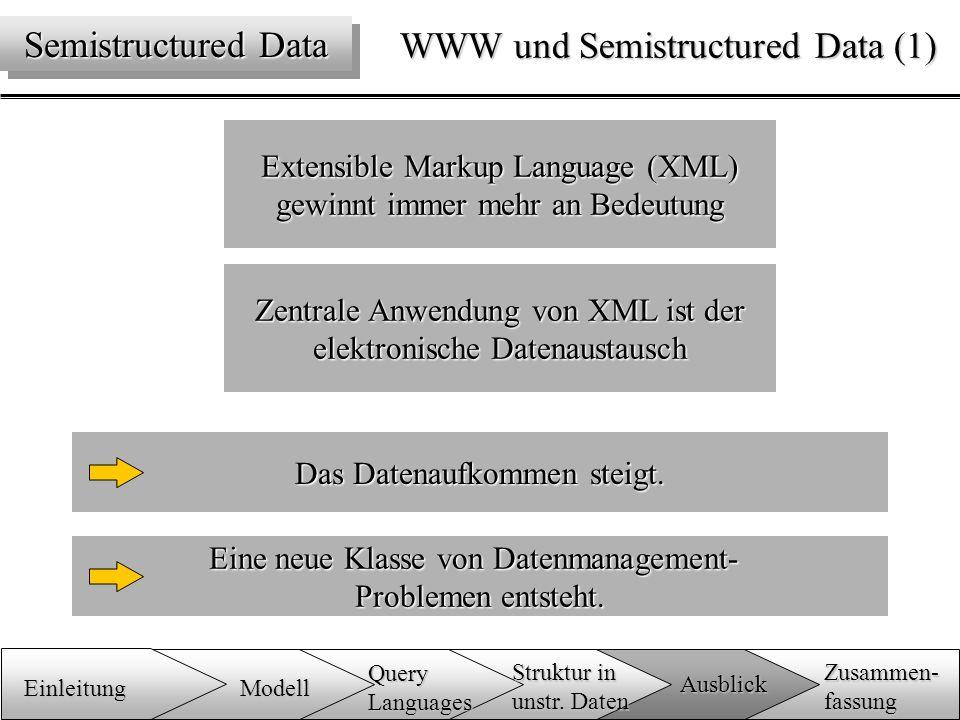 WWW und Semistructured Data (1) Extensible Markup Language (XML) gewinnt immer mehr an Bedeutung Eine neue Klasse von Datenmanagement- Problemen entsteht.