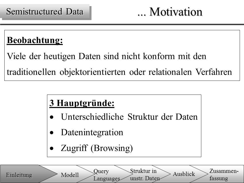 3 Hauptgründe:  Unterschiedliche Struktur der Daten  Datenintegration  Zugriff (Browsing)...