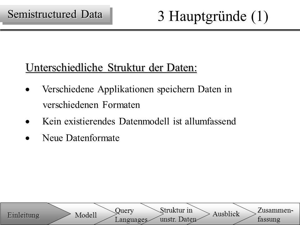 Unterschiedliche Struktur der Daten:  Verschiedene Applikationen speichern Daten in verschiedenen Formaten  Kein existierendes Datenmodell ist allumfassend  Neue Datenformate 3 Hauptgründe (1) Semistructured Data Einleitung Zusammen-fassung Ausblick QueryLanguages Modell Struktur in unstr.
