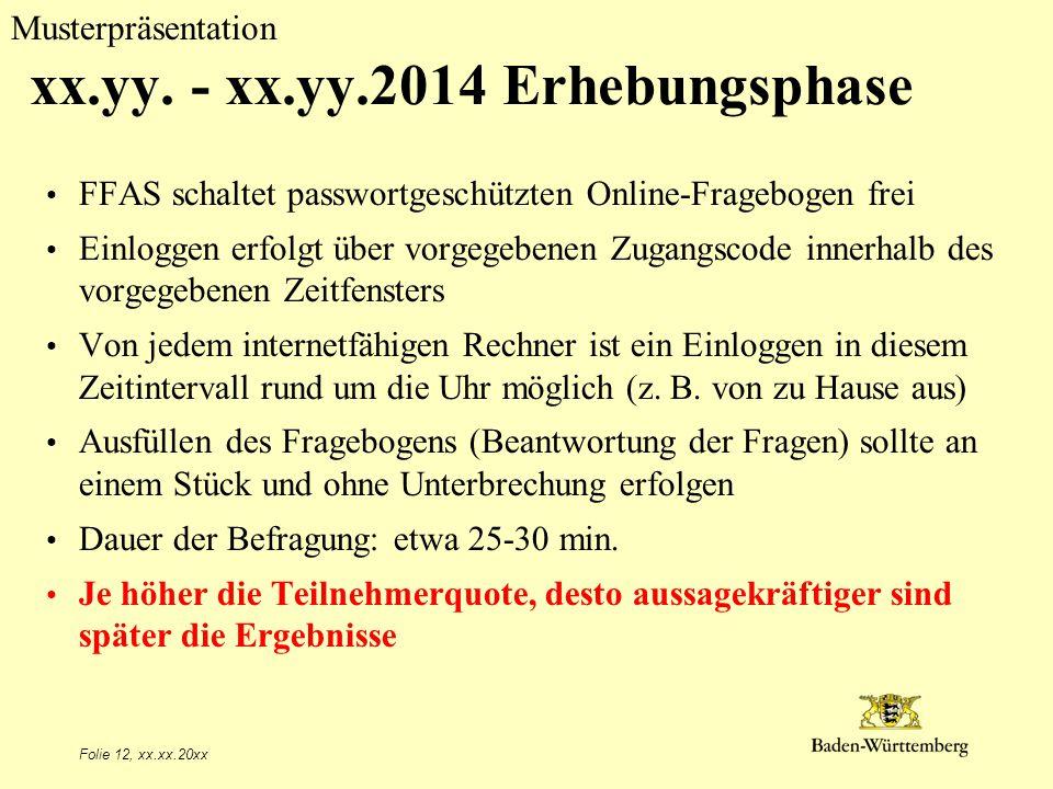 Musterpräsentation Folie 12, xx.xx.20xx xx.yy. - xx.yy.2014 Erhebungsphase FFAS schaltet passwortgeschützten Online-Fragebogen frei Einloggen erfolgt