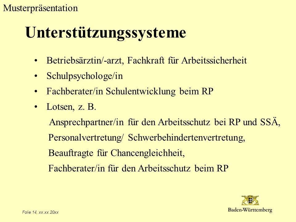 Musterpräsentation Folie 14, xx.xx.20xx Unterstützungssysteme Betriebsärztin/-arzt, Fachkraft für Arbeitssicherheit Schulpsychologe/in Fachberater/in Schulentwicklung beim RP Lotsen, z.