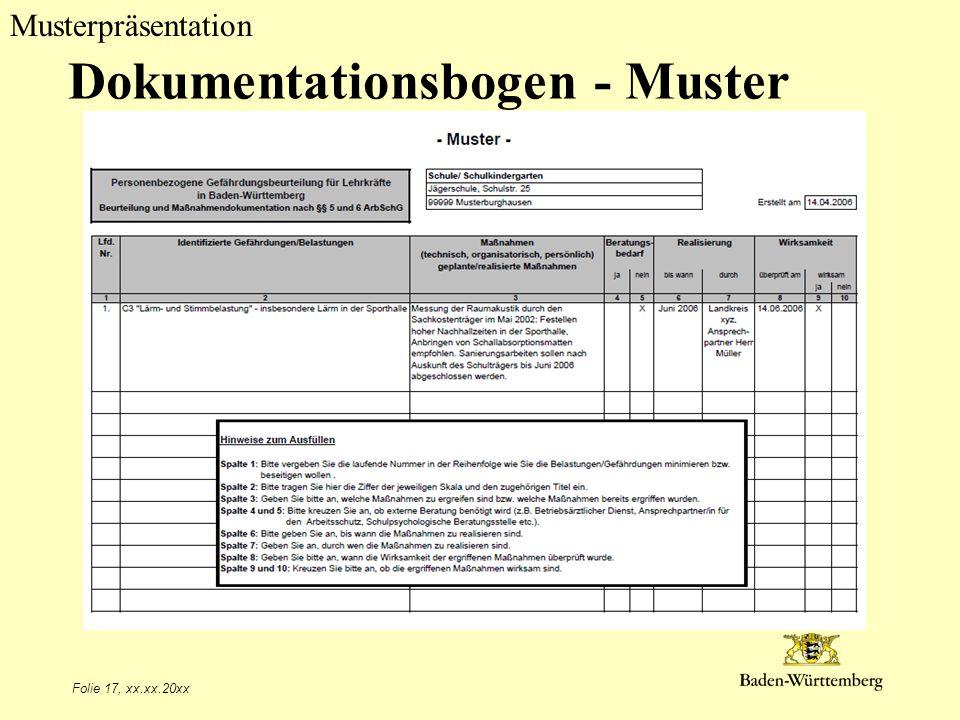 Musterpräsentation Dokumentationsbogen - Muster Folie 17, xx.xx.20xx