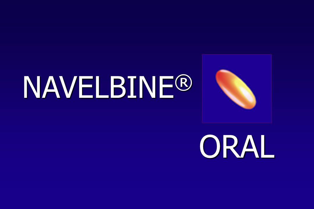 INTERAKTIONEN DER SUBSTANZ Kombination NAVELBINE ® ORAL + CDDP Vorläufige Ergebnisse Anzahl der Patienten: 8 0 10 20 30 40 50 60 70 03691215182124 Zyklus 1 T1 Zyklus 1 T8 Zyklus 2 T1 Zyklus 2 T8 Zyklus 3 T1 Zyklus 3 T8 Zeit (h) Blutkonzentration (ng/ml)