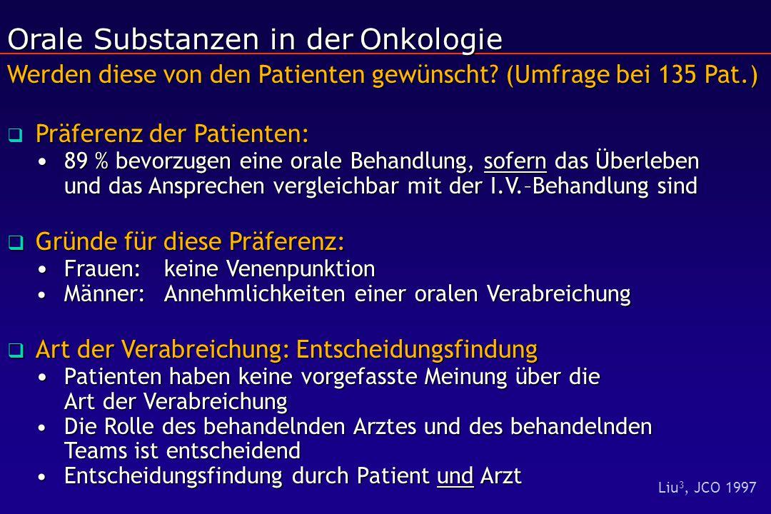 Orale Substanzen in derOnkologie Werden diese von den Patienten gewünscht? (Umfrage bei 135 Pat.) Orale Substanzen in der Onkologie Werden diese von d