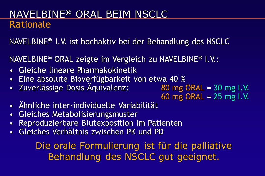 NAVELBINE ® ORAL BEIM NSCLC Ra NAVELBINE ® ORAL BEIM NSCLC Ra tionale NAVELBINE ® I.V. ist hochaktiv bei der Behandlung des NSCLC NAVELBINE ® ORAL zei