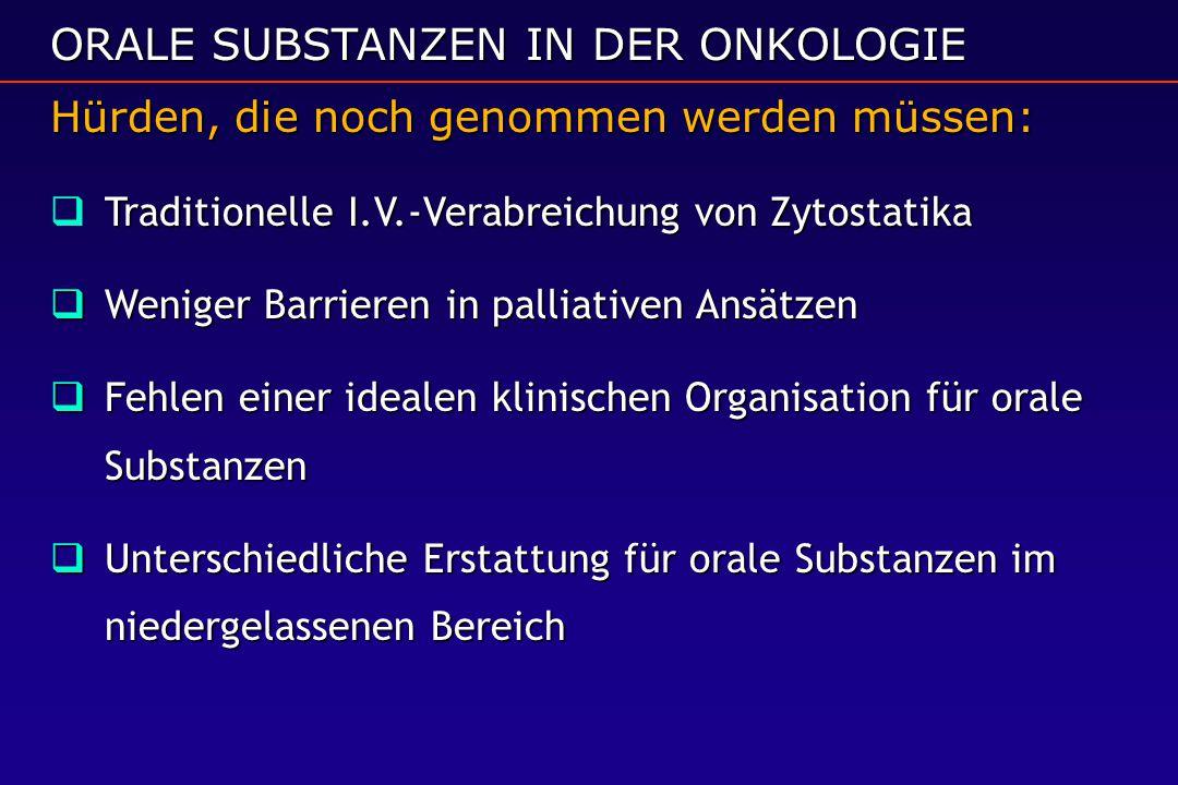 ORALE SUBSTANZEN IN DER ONKOLOGIE Hürden, die noch genommen werden müssen:  Traditionelle I.V.-Verabreichung von Zytostatika  Weniger Barrieren in p