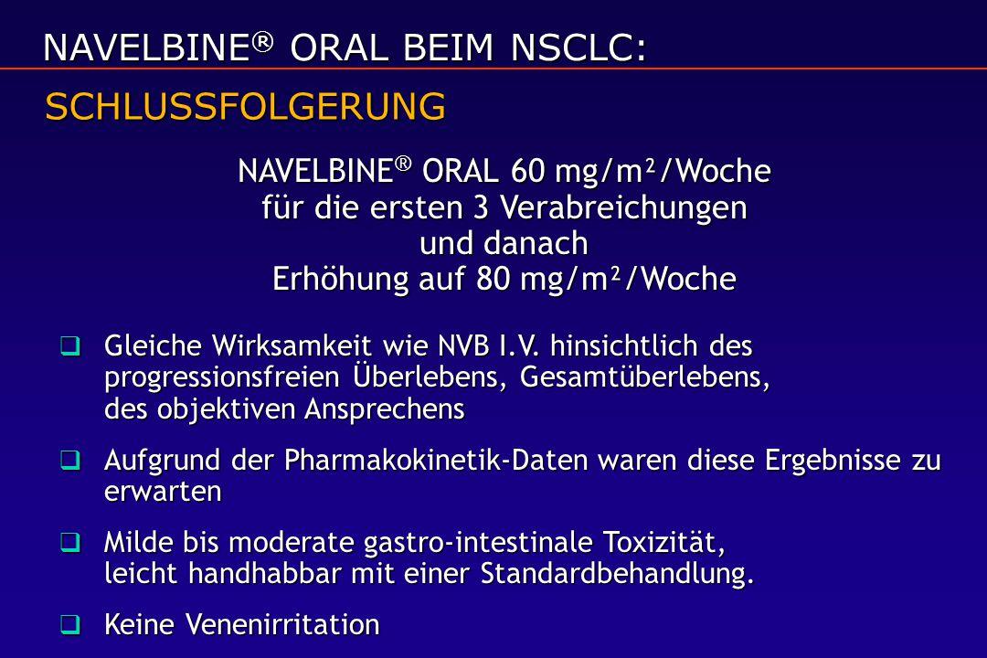 NAVELBINE ® ORAL 60 mg/m²/Woche für die ersten 3 Verabreichungen und danach Erhöhung auf 80 mg/m²/Woche  Gleiche Wirksamkeit wie NVB I.V. hinsichtlic