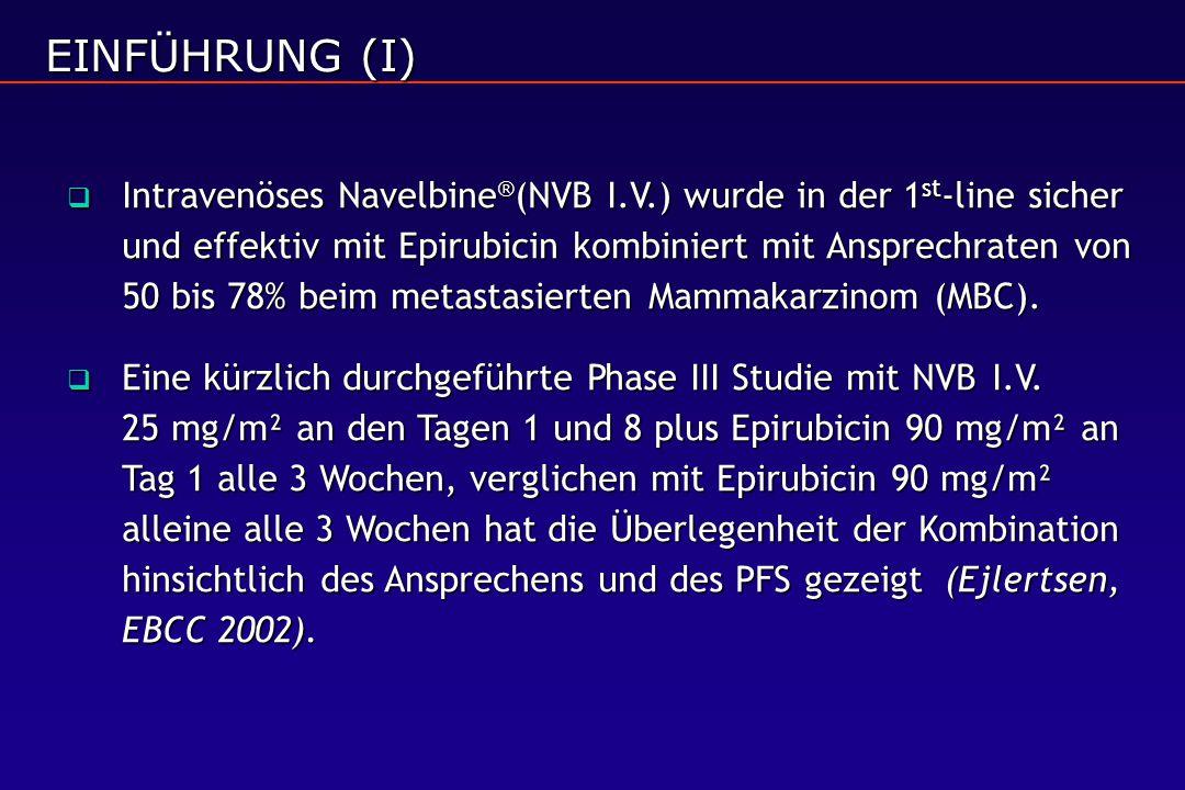 EINFÜHRUNG (I)  Intravenöses Navelbine ® (NVB I.V.) wurde in der 1 st -line sicher und effektiv mit Epirubicin kombiniert mit Ansprechraten von 50 bis 78% beim metastasierten Mammakarzinom (MBC).
