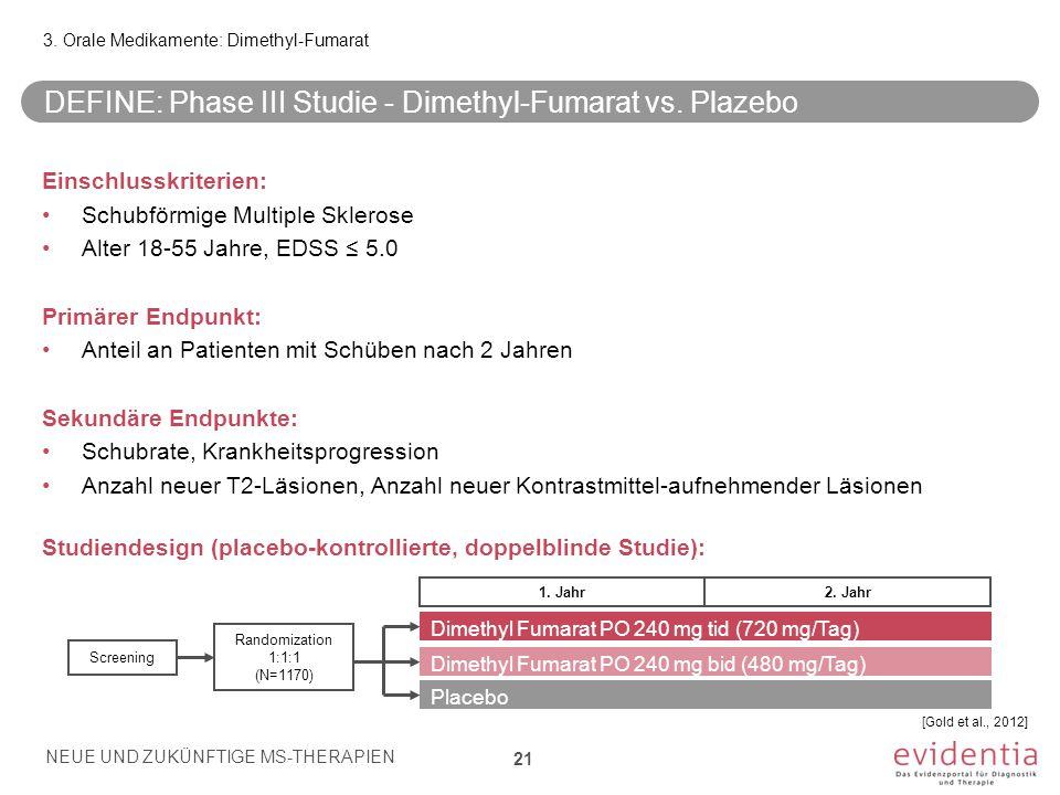 DEFINE: Phase III Studie - Dimethyl-Fumarat vs. Plazebo Einschlusskriterien: Schubförmige Multiple Sklerose Alter 18-55 Jahre, EDSS ≤ 5.0 Primärer End
