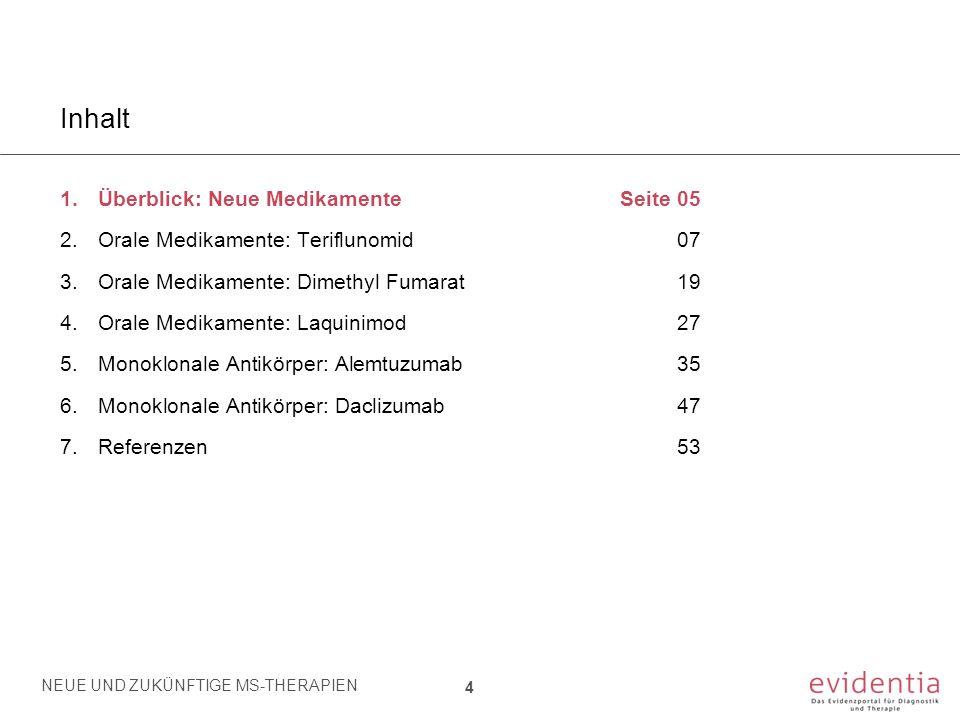Alemtuzumab - Übersicht Zulassung: European Medical Agency (EMA): September 2013 Indikation: Erwachsene Patienten mit aktiver schubförmig-remittierender Multiple Sklerose Dosierung: 12 mg/Tag, verabreicht als intravenöse Infusion in 2 Behandlungsphasen: Erster Behandlungszyklus: 12 mg/Tag an 5 aufeinander folgenden Tagen Zweiter Behandlungszyklus (nach 12 Monaten): 12 mg/Tag an 3 aufeinander folgenden Tagen Zulassungsstudien: CARE-MS I [Cohen JA et al.