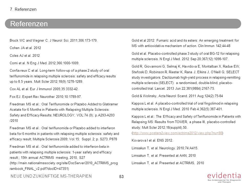 Referenzen Bruck WC and Wegner C. J Neurol Sci. 2011;306:173-179. Cohen JA et al. 2012 Coles AJ et al. 2012 Comi et al. N Eng J Med. 2012;366:1000-100