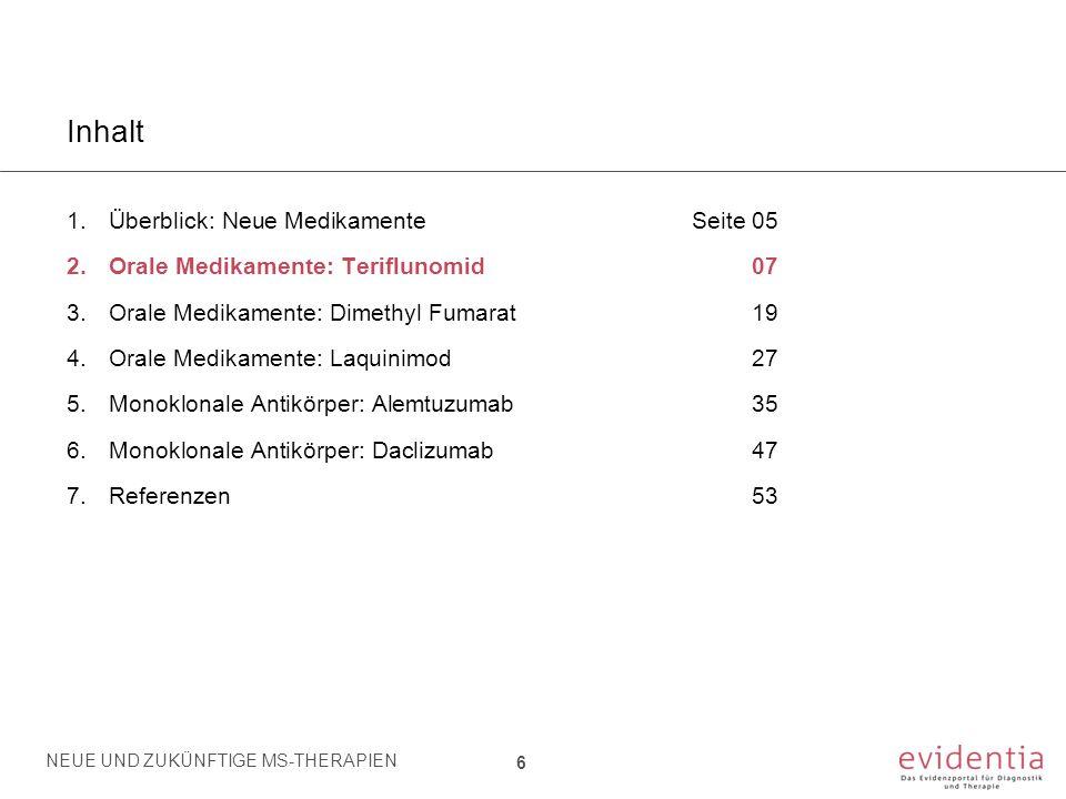 Teriflunomid - Übersicht Zulassung: European Medical Agency (EMA): August 2013 Schweizerisches Heilmittelinstitut (SWISSMEDIC): November 2013 Indikation: Schubförmig-remittierende Multiple Sklerose Dosierung: 14 mg pro Tag per os Zulassungsstudien: TEMSO [O'Connor et al., 2011] TOWER [Kappos et al., 2012] 2.