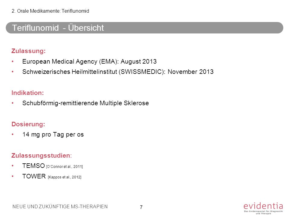 Teriflunomid - Übersicht Zulassung: European Medical Agency (EMA): August 2013 Schweizerisches Heilmittelinstitut (SWISSMEDIC): November 2013 Indikati