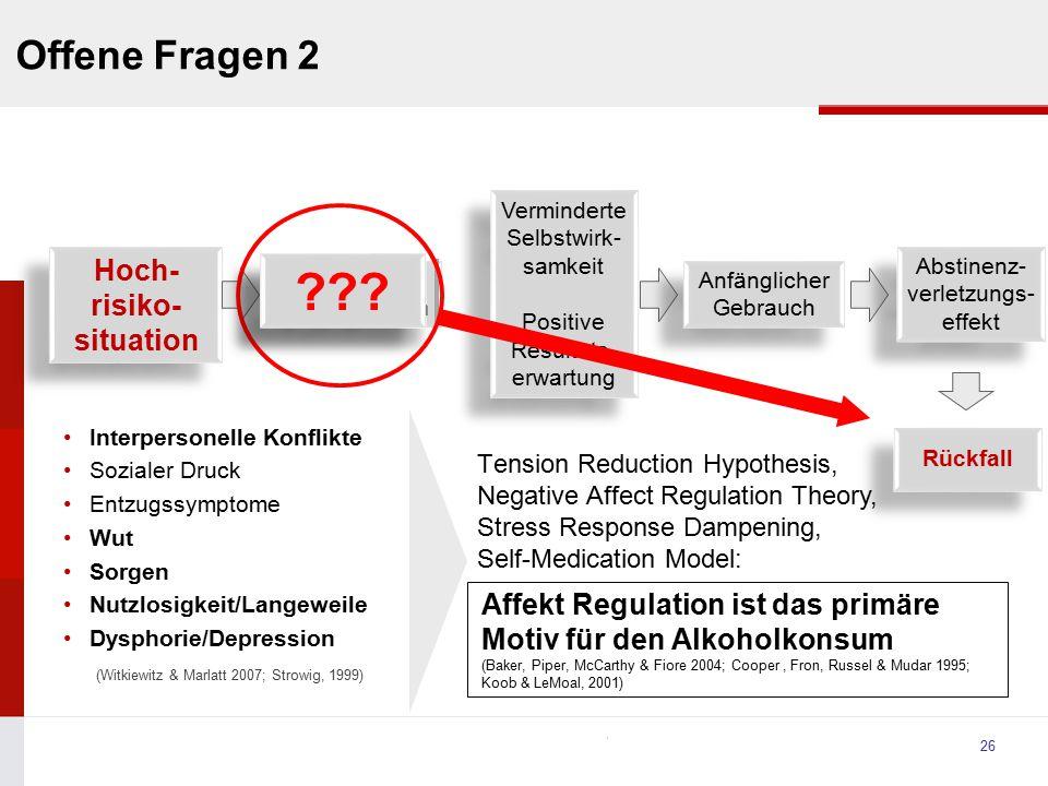 University Interpersonelle Konflikte Sozialer Druck Entzugssymptome Wut Sorgen Nutzlosigkeit/Langeweile Dysphorie/Depression (Witkiewitz & Marlatt 200