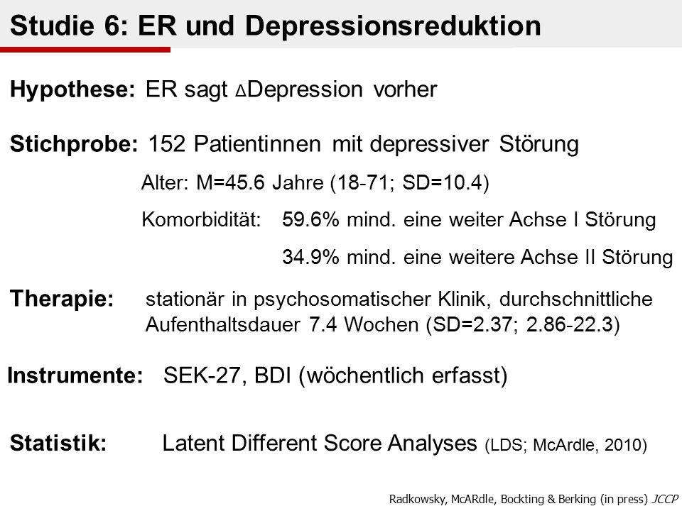 Statistik: Latent Different Score Analyses (LDS; McArdle, 2010) Instrumente: SEK-27, BDI ( wöchentlich erfasst) Studie 6: ER und Depressionsreduktion