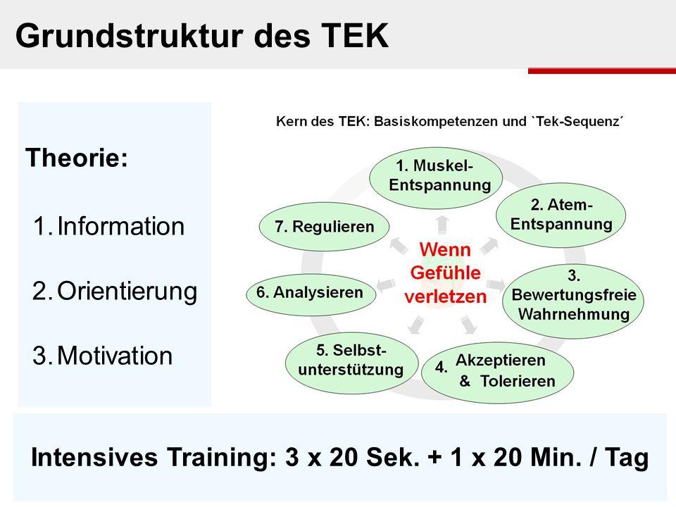 Theorie: 1. Information 2. Orientierung 3. Motivation Intensives Training: 3 x 20 Sek. + 1 x 20 Min. / Tag Grundstruktur des TEK