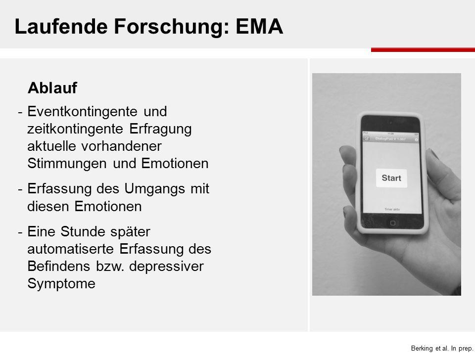 Laufende Forschung: EMA Ablauf -Eventkontingente und zeitkontingente Erfragung aktuelle vorhandener Stimmungen und Emotionen -Erfassung des Umgangs mi