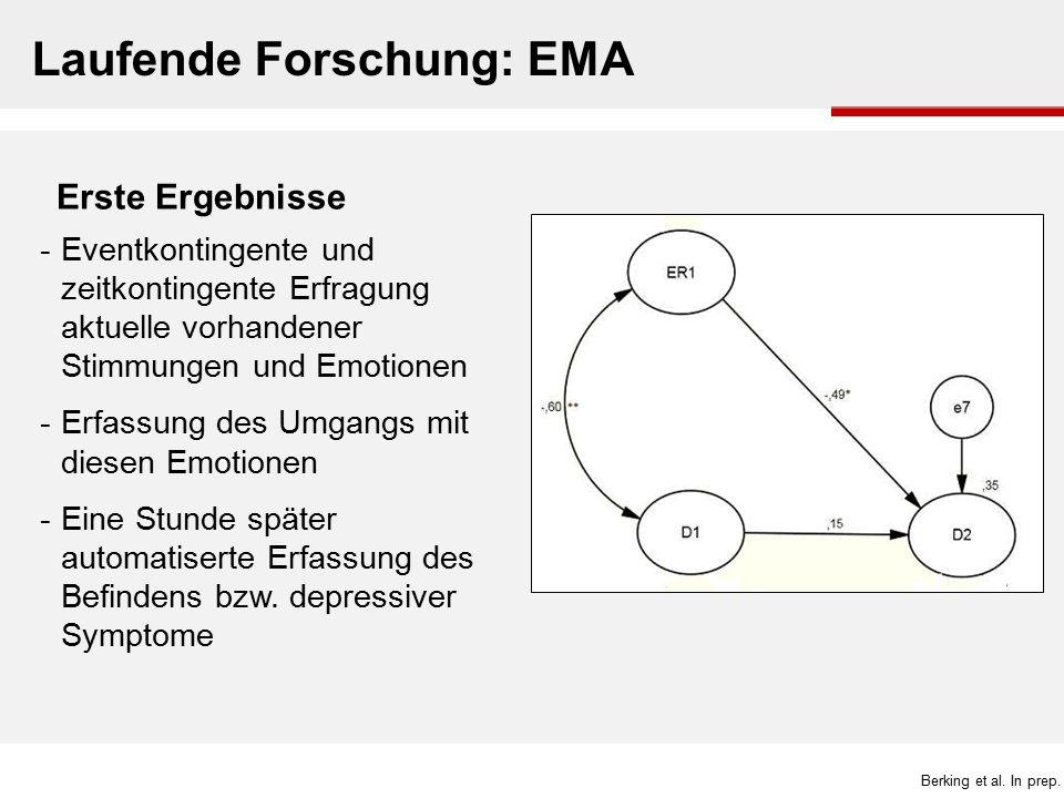 Laufende Forschung: EMA -Eventkontingente und zeitkontingente Erfragung aktuelle vorhandener Stimmungen und Emotionen -Erfassung des Umgangs mit diese