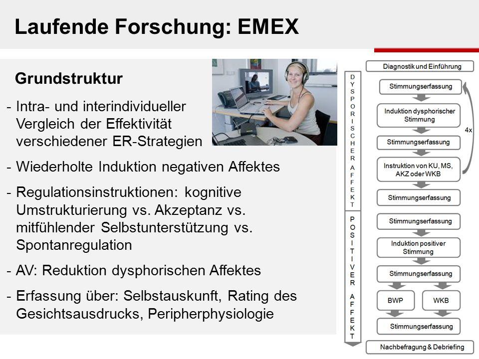 Laufende Forschung: EMEX Grundstruktur -Intra- und interindividueller Vergleich der Effektivität verschiedener ER-Strategien -Wiederholte Induktion ne