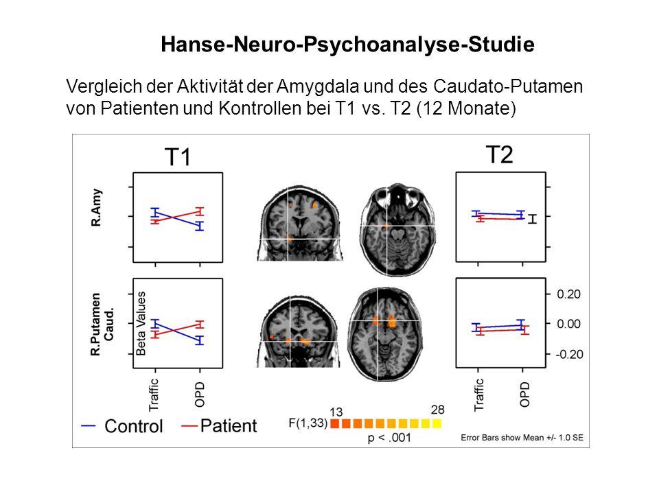 Vergleich der Aktivität der Amygdala und des Caudato-Putamen von Patienten und Kontrollen bei T1 vs. T2 (12 Monate) Hanse-Neuro-Psychoanalyse-Studie
