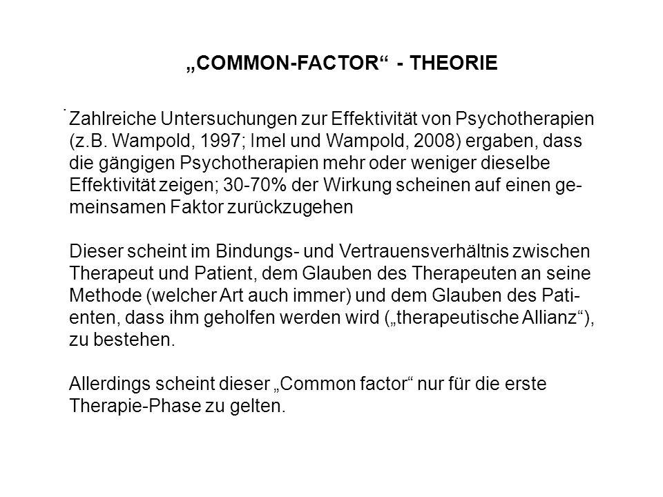 """. """"COMMON-FACTOR"""" - THEORIE Zahlreiche Untersuchungen zur Effektivität von Psychotherapien (z.B. Wampold, 1997; Imel und Wampold, 2008) ergaben, dass"""