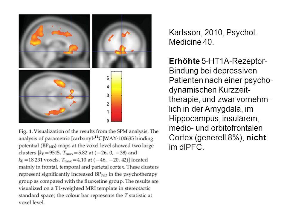 Karlsson, 2010, Psychol. Medicine 40. Erhöhte 5-HT1A-Rezeptor- Bindung bei depressiven Patienten nach einer psycho- dynamischen Kurzzeit- therapie, un