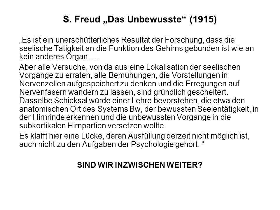 """S. Freud """"Das Unbewusste"""" (1915) """"Es ist ein unerschütterliches Resultat der Forschung, dass die seelische Tätigkeit an die Funktion des Gehirns gebun"""