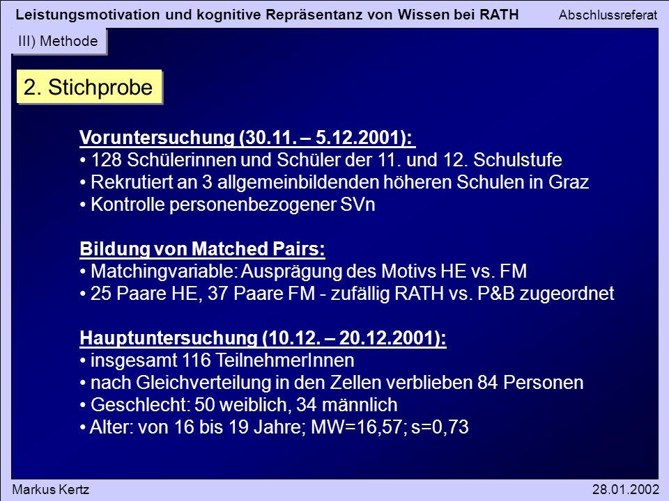 Leistungsmotivation und kognitive Repräsentanz von Wissen bei RATH Abschlussreferat Markus Kertz28.01.2002 III) Methode 2. Stichprobe Voruntersuchung