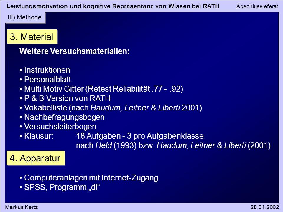 Leistungsmotivation und kognitive Repräsentanz von Wissen bei RATH Abschlussreferat Markus Kertz28.01.2002 III) Methode 3. Material Weitere Versuchsma